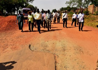 On the ground, Col. Nakalema and her team discovered that work had started on Mango Road where the first layer of bitumen was spread but due to the delay of funds, the layer had started peeling off requiring a fresh spread,
