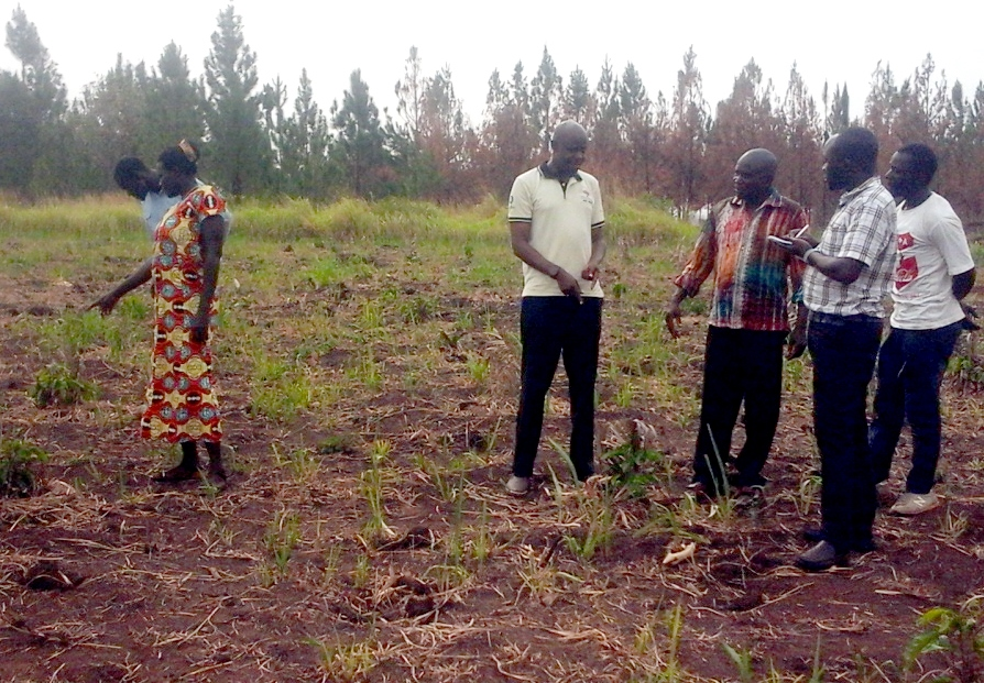 ESAFF Uganda chairperson (in yellow T-shirt) listening to the explanation from the coordinator of the Ajee Group during the farm tour