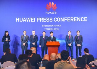 Guo Ping, Rotating Chairman of Huawei(5th left); Dr.Song Liuping, Senior Vice President and the Chief Legal Officer for Huawei(4th left); John Suffolk, Senior Vice President and Global Cyber Security & Privacy Officer(GSPO) for Huawei(3rd left); Glen D. Nager, Partner at Jones Day, Lead Counsel of this action(2d right); Dr.Yang Chaobin, President of Huawei's 5G Product Line(right); Li Dafeng, Executive Member of the Supervisory Board, Director of the ICT Infrastructure Managing Board Office(Left).