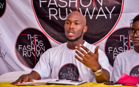 Fenando Kamugisha, CEO The Kids Fashion Runway addresses the press on Saturday in Kampala