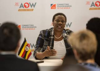 Uganda's Energy Minister Irene Muloni while at the 2018 Africa Oil Week in Johanesbourg.
