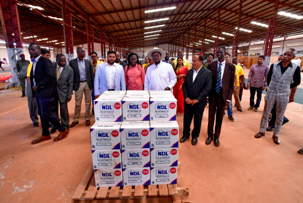Nile Batteries Limited products during the commissioning by President Yoweri Museveni.