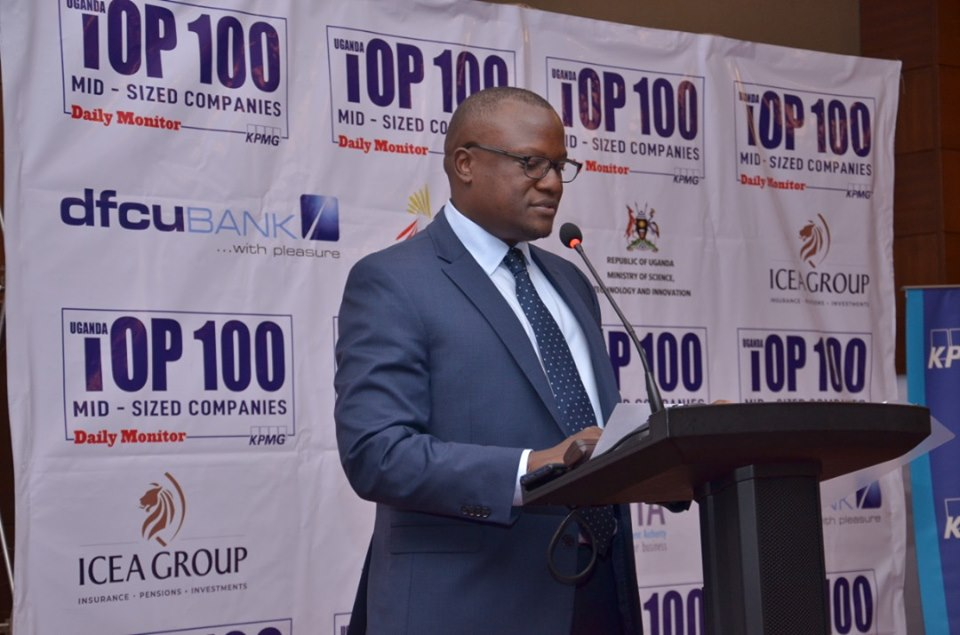 dfcu Bank Chief Executive Officer Mathias Katamba giving a speech during the Launch