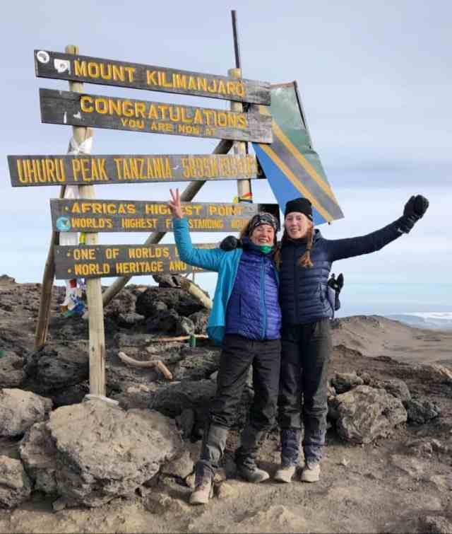 Jarskog, after successfully reaching Uhuru Peak on Mt Kilimanjaro with her daughter  Johanna Jarskog.