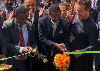 EEU Ribbon Cutting - The official ribbon cutting to launch the new SAP system at Ethiopia Electric Utility (EEU) was conducted by dignitaries (left to right): H.E. Dr. Frehiwot Woldehanna, State Minister of the Energy Sector within the Ministry of Water, Irrigation and Electricity; H.E. Dr. -Ing. Getahun Mekuria, Minister of Education and Chair of the board of Directors for EEU; Pedro Guerreiro - MD for SAP Central Africa