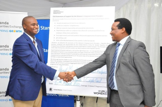 To mark the event, Patrick Mweheire, Regional Chief Executive Standard Bank signed the UN Women's Empowerment Principles (WEP) at the Uganda Securities Exchange as a pledge to continue to promote gender equality in the workplace.