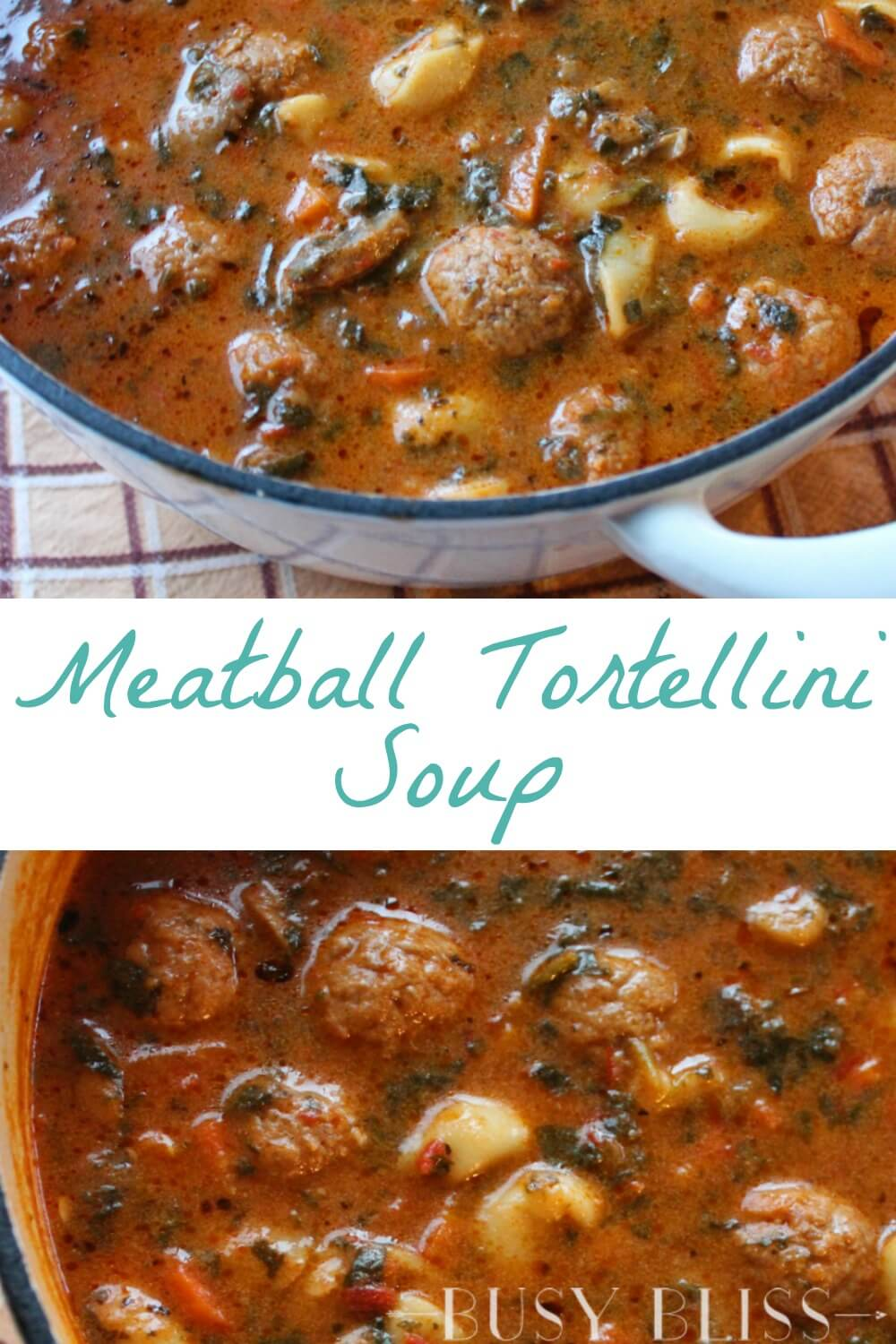 A meatball tortellini soup recipe that can easily be made in the slow cooker or stove top. The perfect weeknight recipe for busy families.