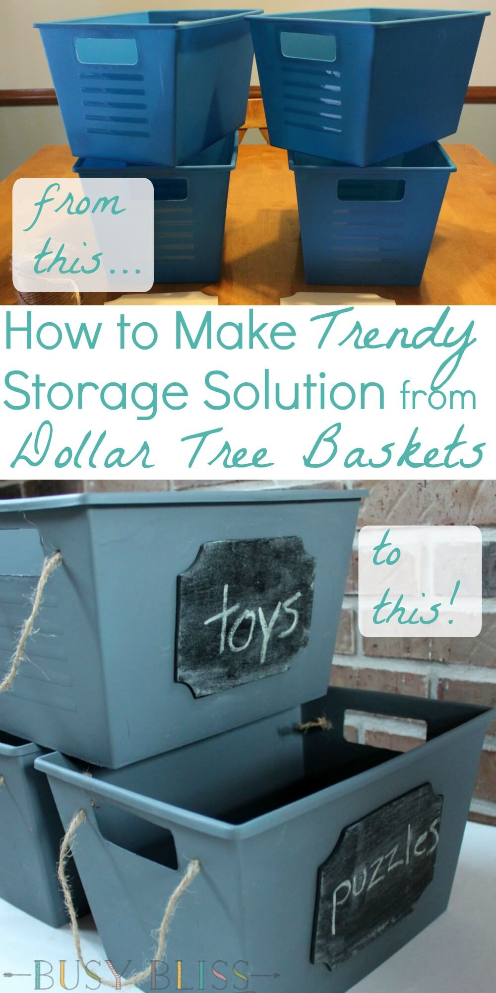 This makeover turns Dollar Tree baskets into trendy storage. Get organized with this easy DIY project.