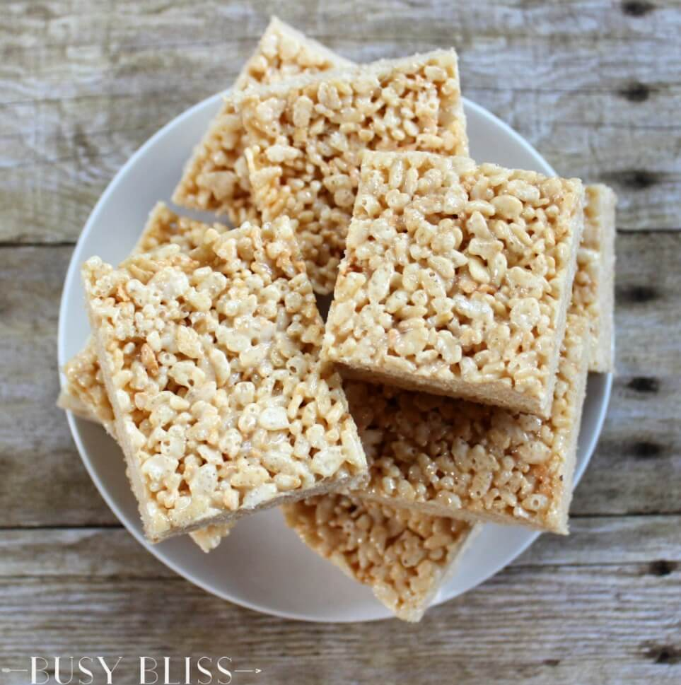 This is the best recipe for Rice Krispie treats. They are so easy to make and have the perfect amount of gooey marshmallow!