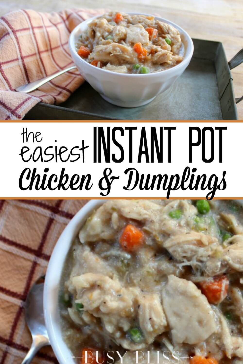 Make Chicken and Dumplings in record time with the Instant Pot! Using an electric pressure cooker and canned biscuits will have this filling soup on your dinner table in less than an hour.