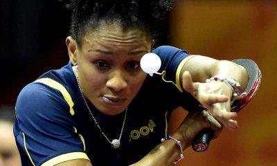 Funke Oshonaike serves a ball