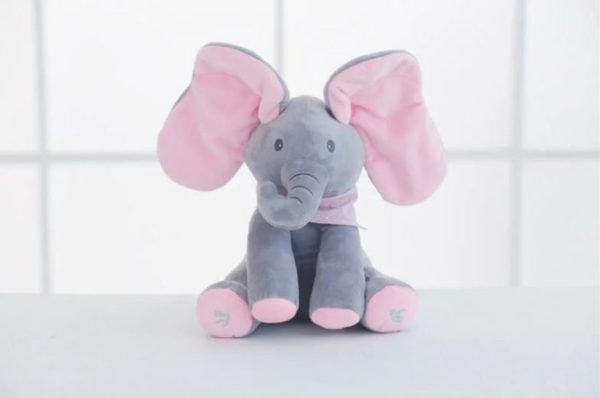 Singing Peek A Boo Elephant Plush Toy Wide Shot