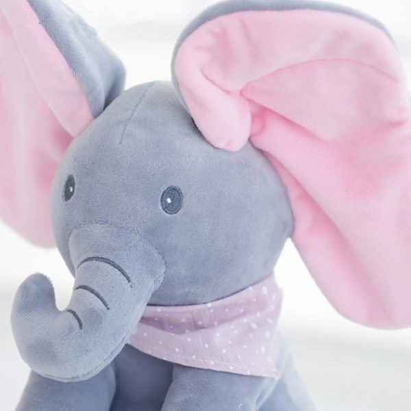 Singing Peek a Boo Elephant Plush Doll Blue Close Up Face