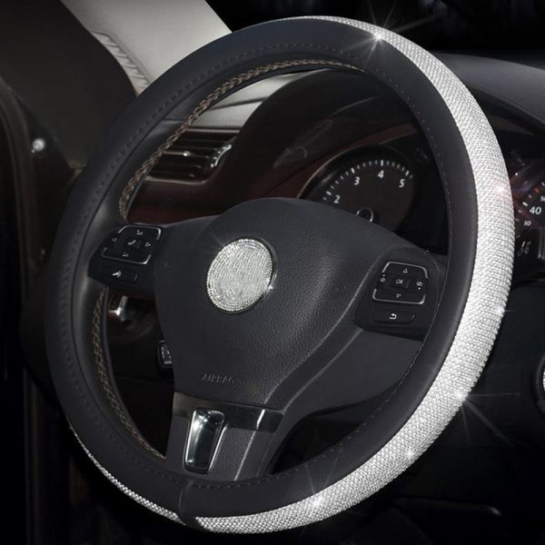 Crystal Steering Wheel Cover - Black