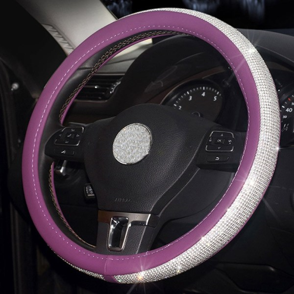 Rhinestone Diamond Crystal Steering Wheel Cover - Purple