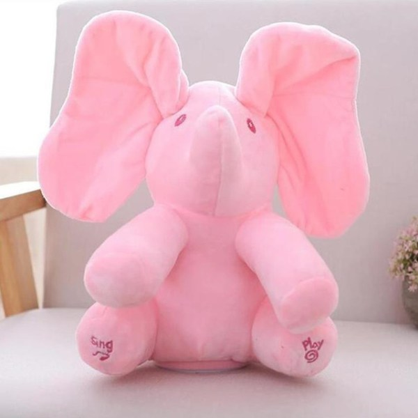 Singing Peek A Boo Elephant Plush Toy Pink
