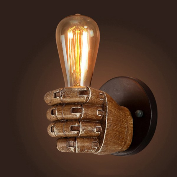Wooden Fist Wall Light Fixture Lamp Left Long Bulb