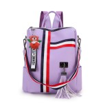 Alexandra Leather Backpack Purse Anti-Theft Convertible Bag - Purple