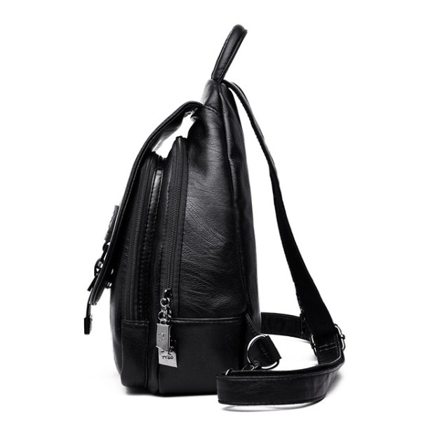 Leather Convertible Backpack Purse Anti Theft Crossbody Bag Side View Black