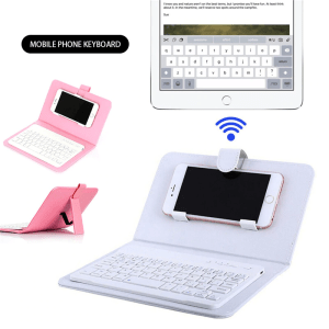 Wireless Phone Keyboard Leather Case Stand