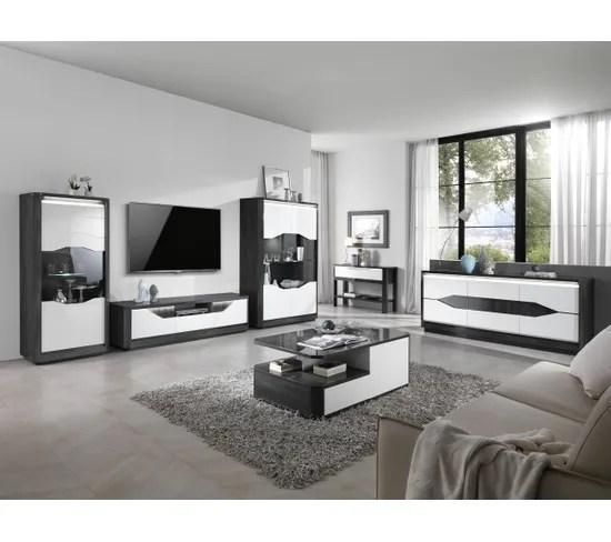 meuble tv l 170 matera blanc imitation chene gris