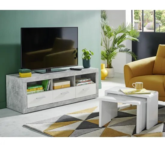 meuble tv matt beton blanc