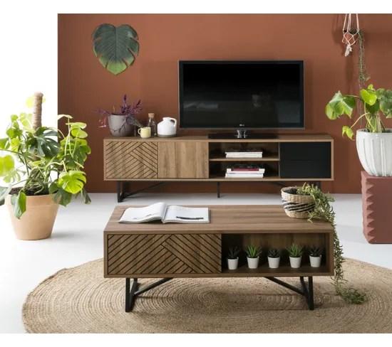 meuble tv industriel l 180 edea imitation chene et noir