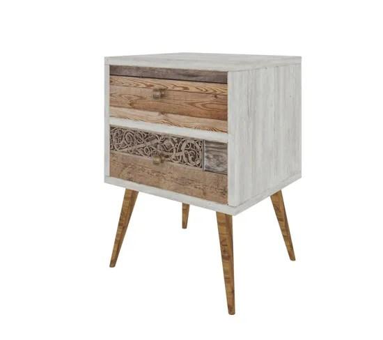 table de chevet design scandinave malmo l 40 x h 63 cm blanc