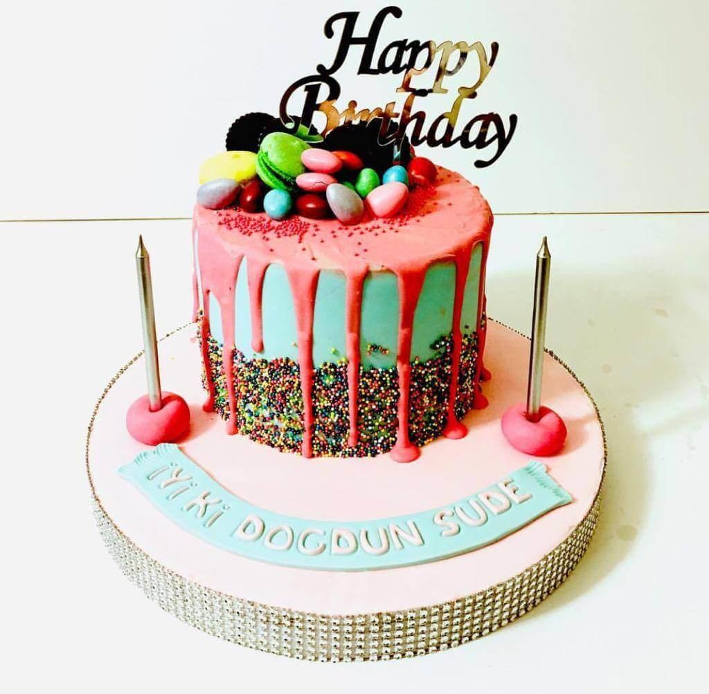 pembe şekerlemeli pasta