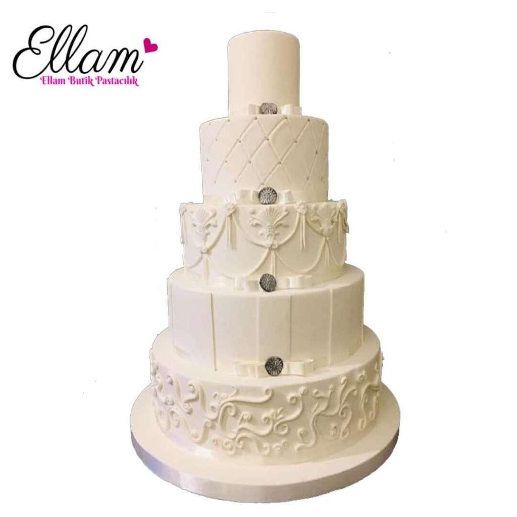 beyaz düğün pastası