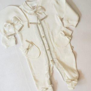 butikvav dantelli hastanecikisi - Dantelli Taşlı Süslü Kız Bebek Hastane Çıkışı Tulum Seti