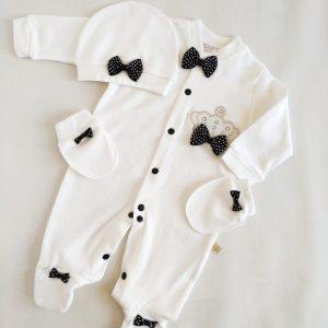 erkek bebek tas suslemeli hastane cikisi tulum seti 0 1 ay 01 scaled - Erkek Bebek İncili Prens Tacı Süslemeli Hastane Çıkışı 1-3 Ay