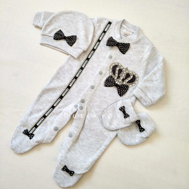 Erkek Bebek Şehzade Kaftan Mevlüt Takımı Açık Mavi 10 - Erkek Bebek Kral Taç Süslemeli Hastane Çıkışı 0-1 ay