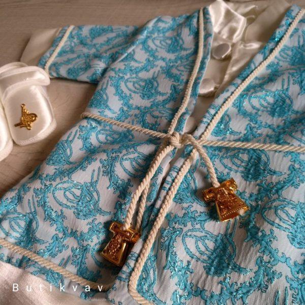 Erkek Bebek Şehzade Kaftan Mevlüt Takımı Mavi 04 - Erkek Bebek Şehzade Kaftan Mevlüt Takımı - Mavi