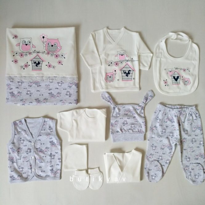 kiz bebek baskili 10 lu hastane cikisi 100 pamuk 02 scaled - Kız Bebek Baykuş Baskılı 10'lu Hastane Çıkışı %100 pamuk