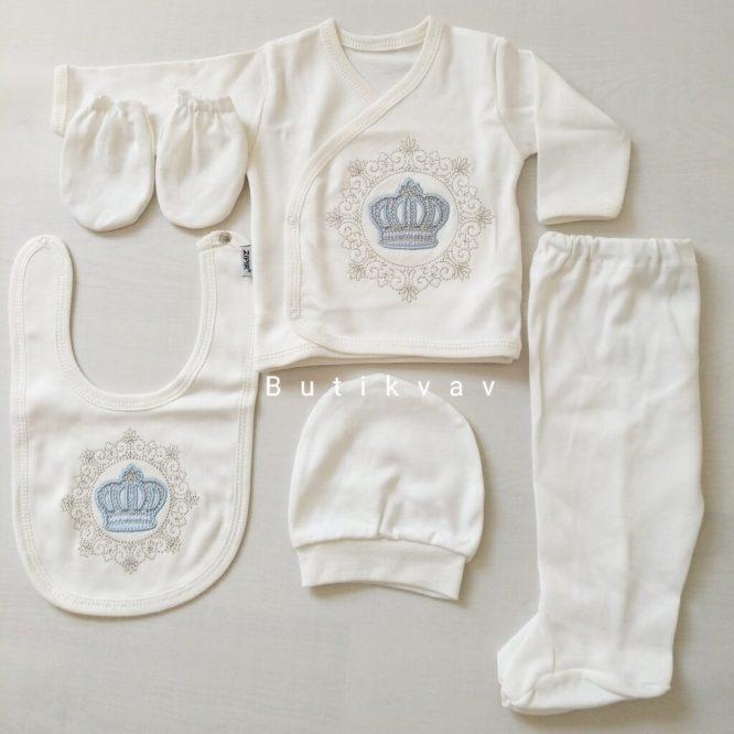 Erkek Bebek Kral Taç İşlemeli 5li Hastane Çıkışı 01 scaled - Erkek Bebek Kral Taç Nakışlı 5li Hastane Çıkışı