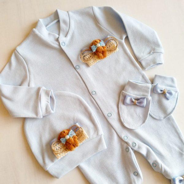 Erkek Bebek Kral Taç Süslemeli Hastane Çıkışı 1 3 ay 04 - Sevimli Ayıcık Süslemeli Yenidoğan Hastane Çıkışı 1-3 Ay