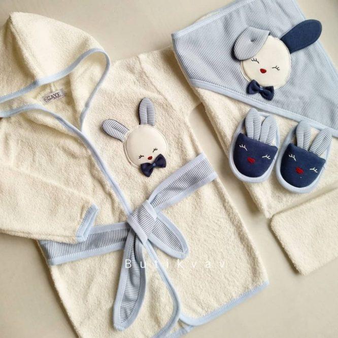 Gaye Bebe Erkek Bebek Tavşanlı Bornoz Seti mavi 01 - Gaye Bebe Erkek Bebek Tavşanlı Bornoz Seti - mavi