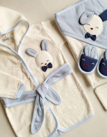 Gaye Bebe Erkek Bebek Tavşanlı Bornoz Seti mavi 01 - Anasayfa