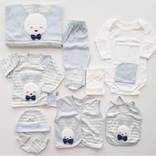 Gaye Bebe Erkek Bebek Tavşanlı 10 Parça Hastane Çıkışı Seti 01 scaled - Gaye Bebe Erkek Bebek Tavşanlı 10 Parça Hastane Çıkışı - mavi