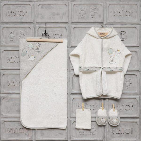 Bebitof Erkek Bebek Balonlu Bornoz Seti 01 scaled - Bebitof Erkek Bebek Bulut Baskılı Bornoz Seti