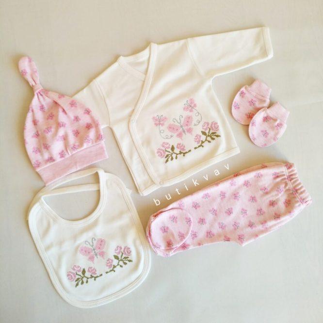 Kız Bebek Kanaviçe Süslemeli Hastane Çıkışı Zıbın Seti pembe Kopya 01 scaled - Dandini Kız Bebek Kanaviçe İşlemeli Hastane Çıkışı Zıbın Seti