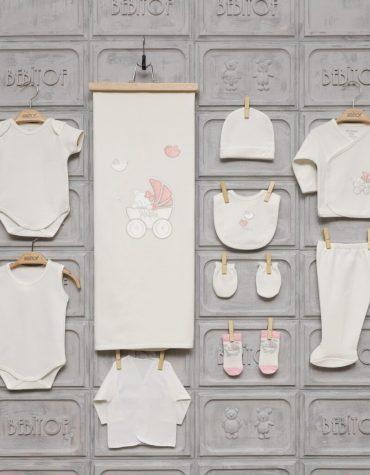 Gaye Bebe Kız Bebek Tavşan Süslemeli 10lu Hastane Çıkışı Pudra Kopya 01 scaled - Bebitof Kız Bebek Bebek Arabası İşlemeli 10'lu Hastane Çıkışı - Krem