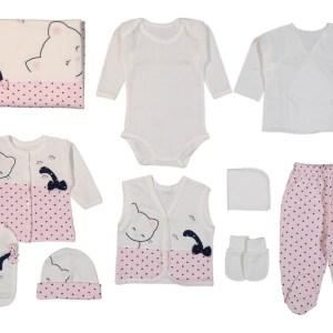 Gaye Bebe Kedili 10lu Hastane Çıkışı Lacivert Kopya 01 - Gaye Bebe Kız Bebek Kedili 10'lu Hastane Çıkışı - Pembe