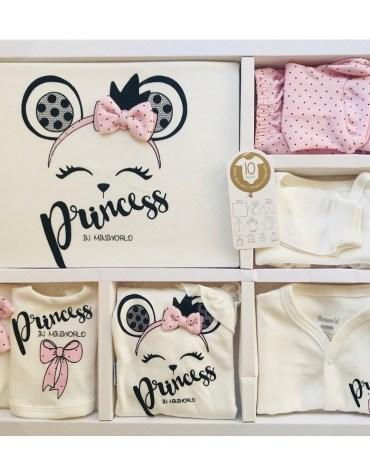 Miniworld Kız Bebek Tavşan Kulak 10lu Hastane Çıkışı Pembe 03 - Miniworld Kız Bebek Prenses Yazılı 10'lu Hastane Çıkışı - Pembe