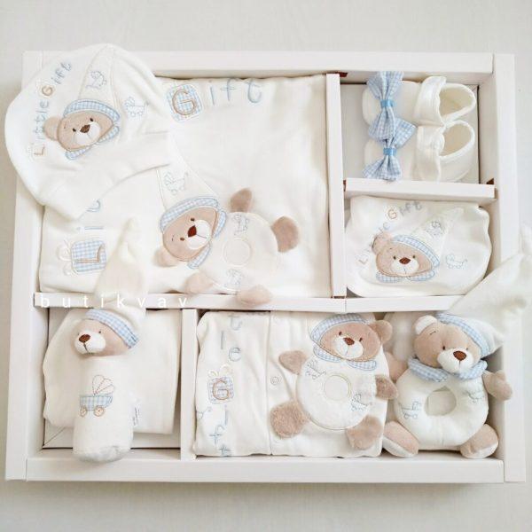 erkek bebek oyuncakli tulumlu lux 12 li hastane cikisi 01 scaled - Little Gift Oyuncaklı Tulumlu Lux 12'li Hastane Çıkışı Mavi