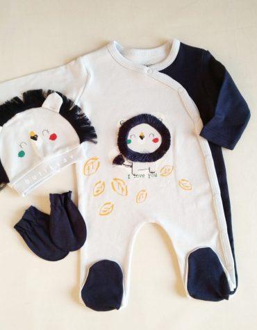 erkek bebek uykucu aslan tulum sapka seti 0 3 ay 01 scaled - Erkek Bebek Minik Aslan Tulum Seti  3-6 Ay