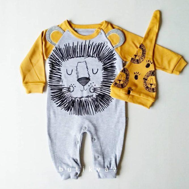 erkek bebek uykucu aslan tulum sapka seti 6 9 ay 01 scaled - Erkek Bebek Uykucu Aslan Tulum & Şapka Seti  6 Ay