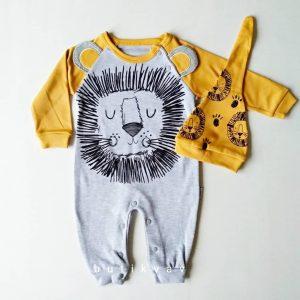 erkek bebek uykucu aslan tulum sapka seti 6 9 ay 01 scaled - Erkek Bebek Uykucu Aslan Tulum & Şapka Seti  3-6 Ay