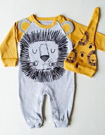 erkek bebek uykucu aslan tulum sapka seti 6 9 ay 01 scaled - Erkek Bebek Uykucu Aslan Tulum & Şapka Seti  0-3 Ay